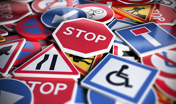 road or traffic signs - road signs stock photos and pictures