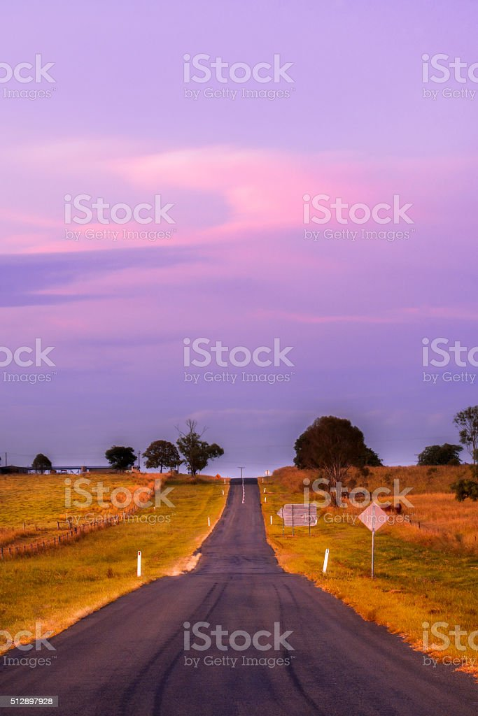 Road out in the country stock photo