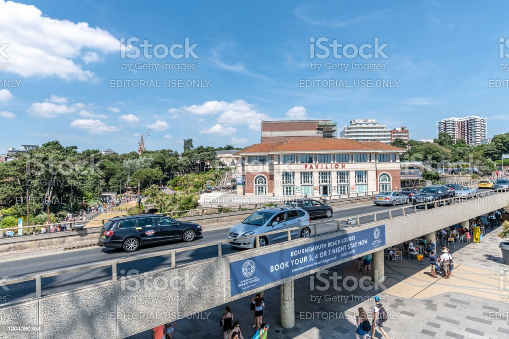 Road overpass by the seafront in Bournemouth, UK stock photo