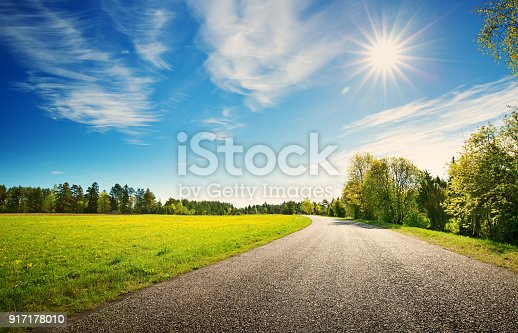 istock Road panorama on sunny spring day 917178010