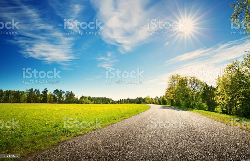 Road panorama on sunny spring day stock photo