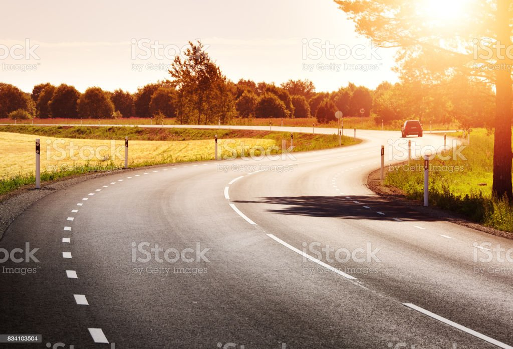 Road panorama on sunny spring evening stock photo