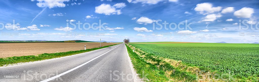 Road panorama, spring royalty-free stock photo