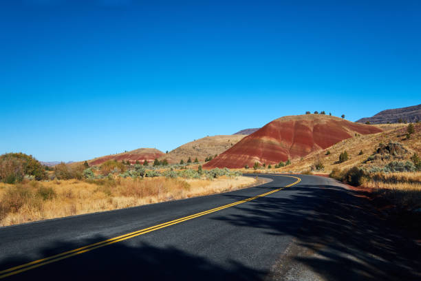 Road passing a Painted Hill stock photo