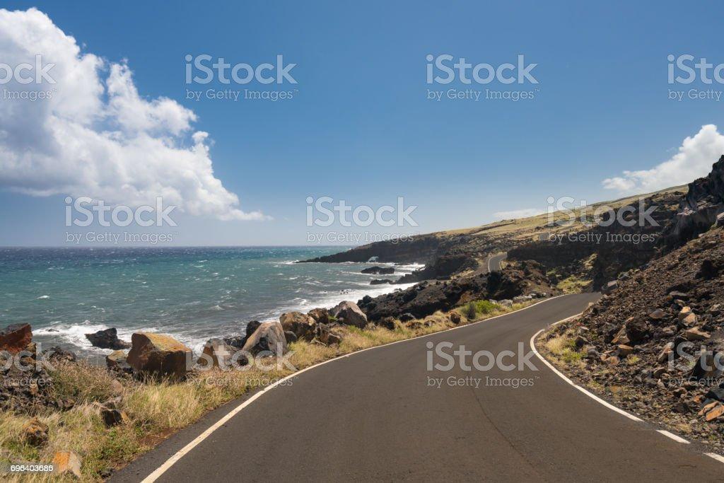 Road past Hana around the back side of Haleakala on Maui stock photo