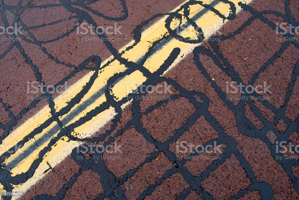 Road patching royalty-free stock photo