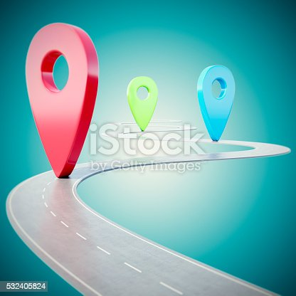istock Road path going forward on blue background with colorful pin 532405824