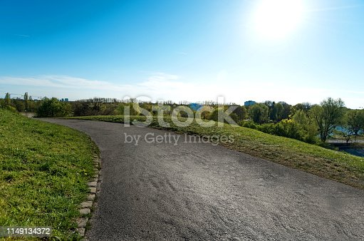 Road Path in Olympic Park in Munich, Germany.