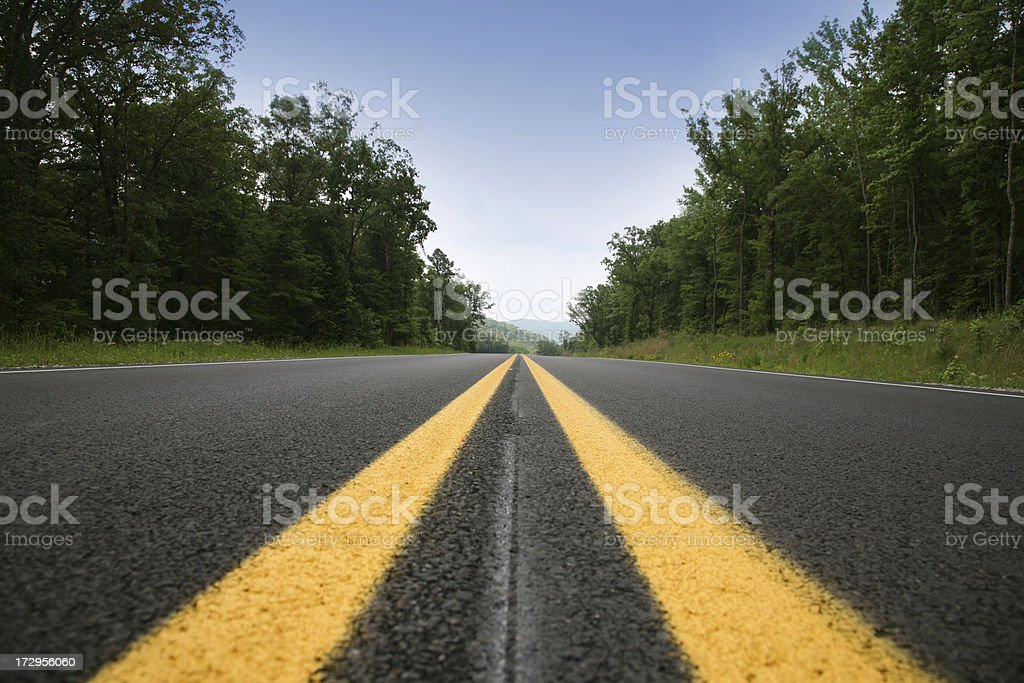 Road Perspective from low angle with dark beautiful composition stock photo
