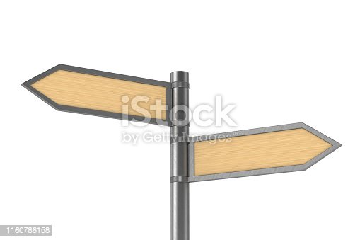istock road pointer on white background. Isolated 3D illustration 1160786158