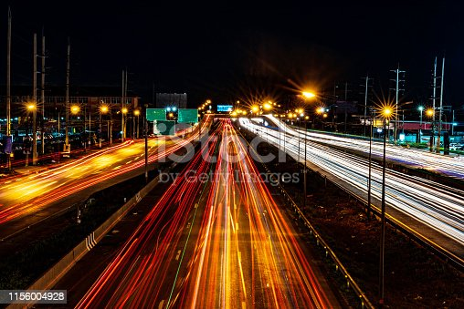 istock Road, power line, car running with speed, hiway highway 1156004928