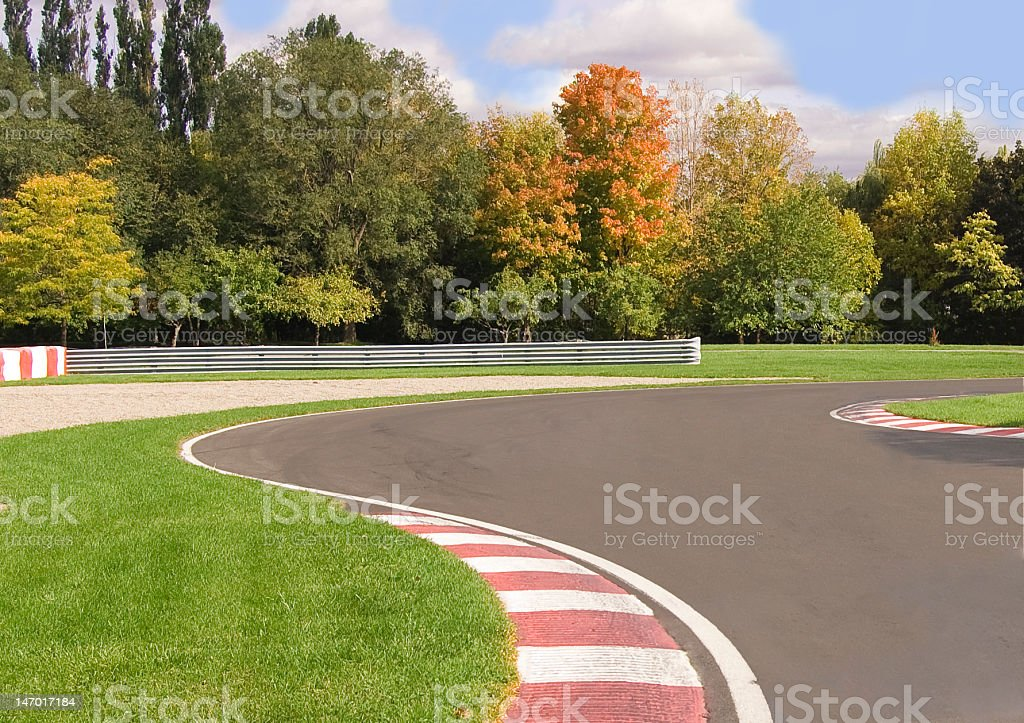 Road racing circuit stock photo