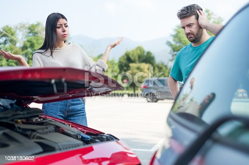 1047083324 istock photo Road rage after little car crash on the road 1038180602