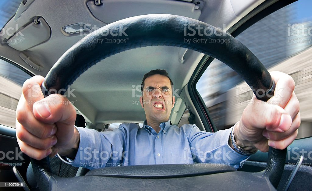 Road rage (male) stock photo