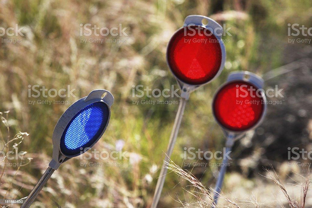 Road Reflector Flasher Lens Light stock photo