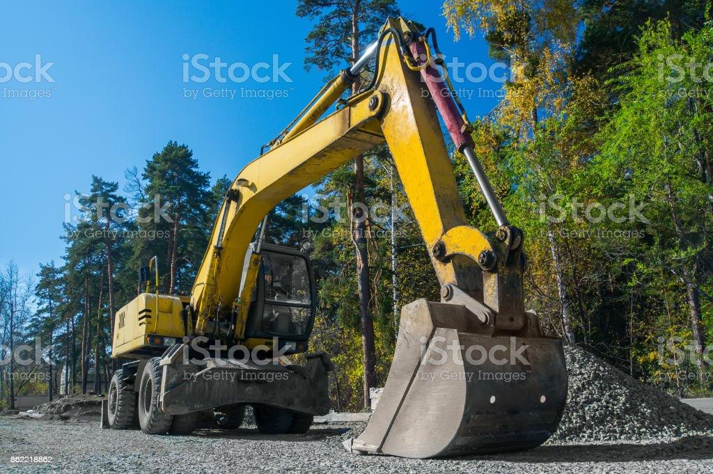 Road repair, asphalt laying. stock photo