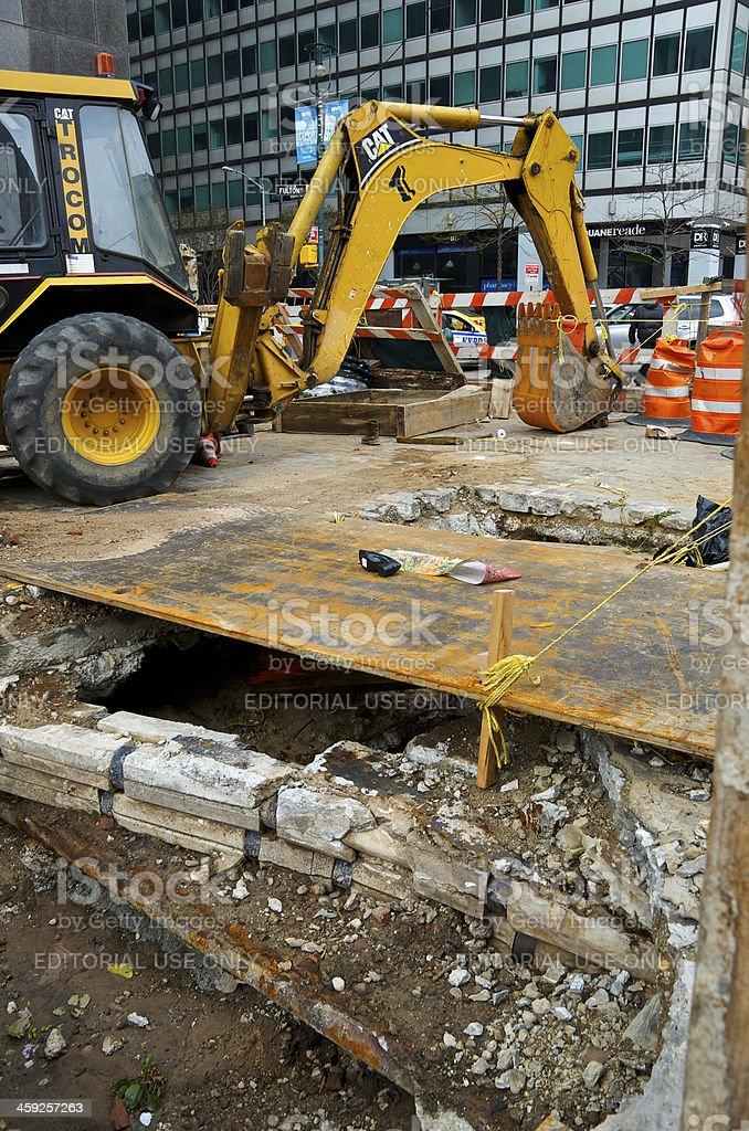 Road Repair Site, Fulton St, Lower Manhattan, New York City royalty-free stock photo