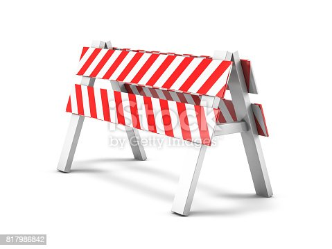 istock Road repair, under construction road sign. 3D rendering 817986842