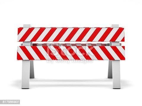 istock Road repair, under construction road sign. 3D rendering 817986902