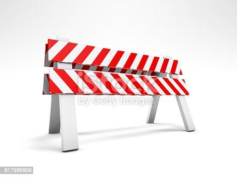 istock Road repair, under construction road sign. 3D rendering 817986906