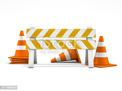 istock Road repair, under construction road sign. 3D rendering 817986926