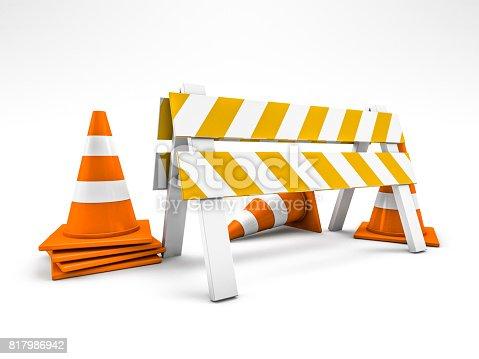 istock Road repair, under construction road sign. 3D rendering 817986942