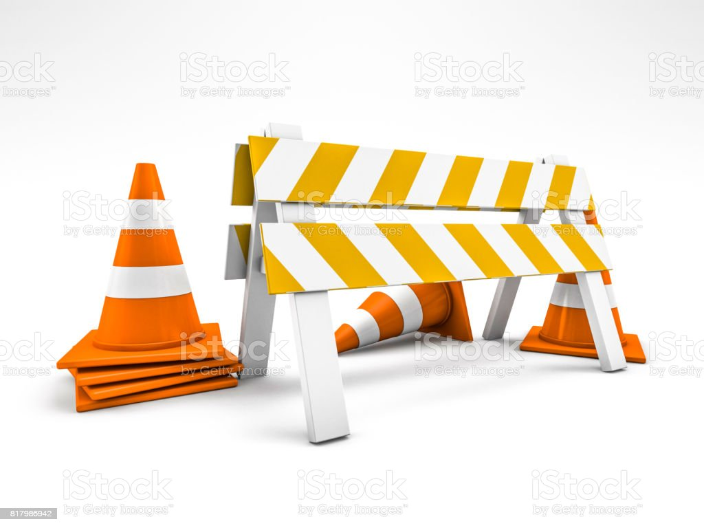 Road repair, under construction road sign. 3D rendering - foto stock