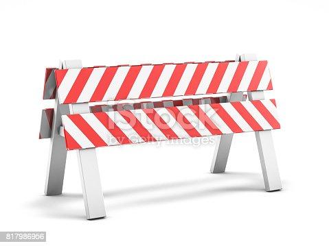 istock Road repair, under construction road sign. 3D rendering 817986956