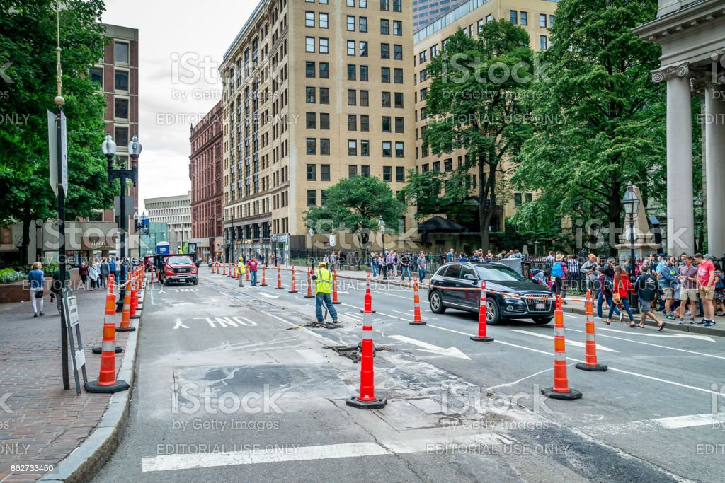 Road repairing at Boston, crossing of Tremont and Beacon streets, Massachusetts United States, 30 july 2017 stock photo