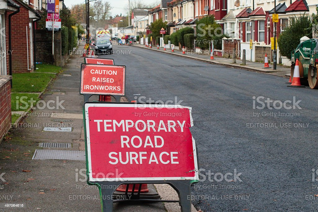 Temporary road surface in Mitcham Surrey England stock photo