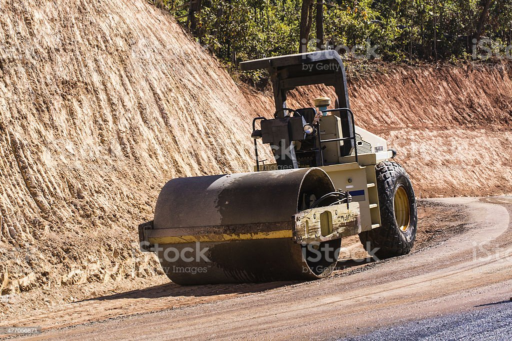 road roller at work in Countryside royalty-free stock photo