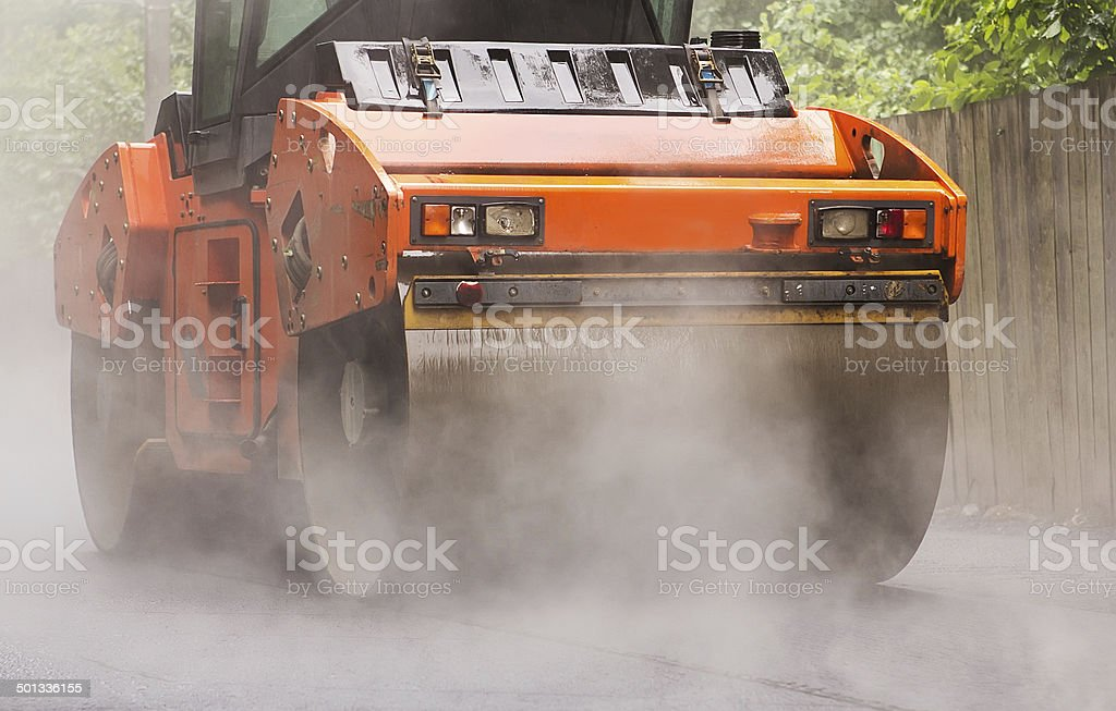 Road rollers for asphalt stock photo
