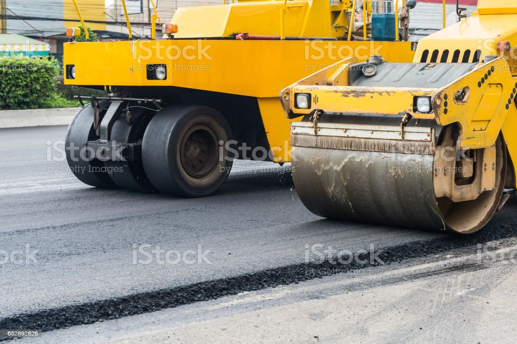 Road rollers working. stock photo