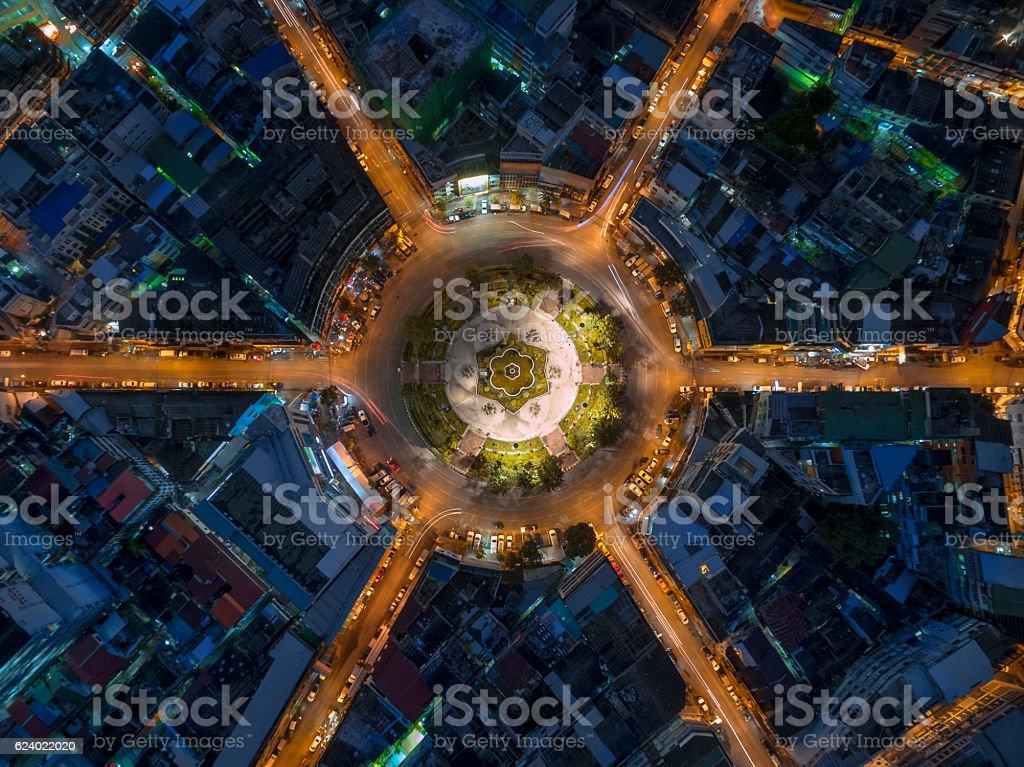 Road roundabout large stock photo