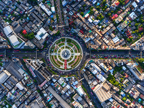 istock Road roundabout with car lots in Bangkok,Thailand. 616242358