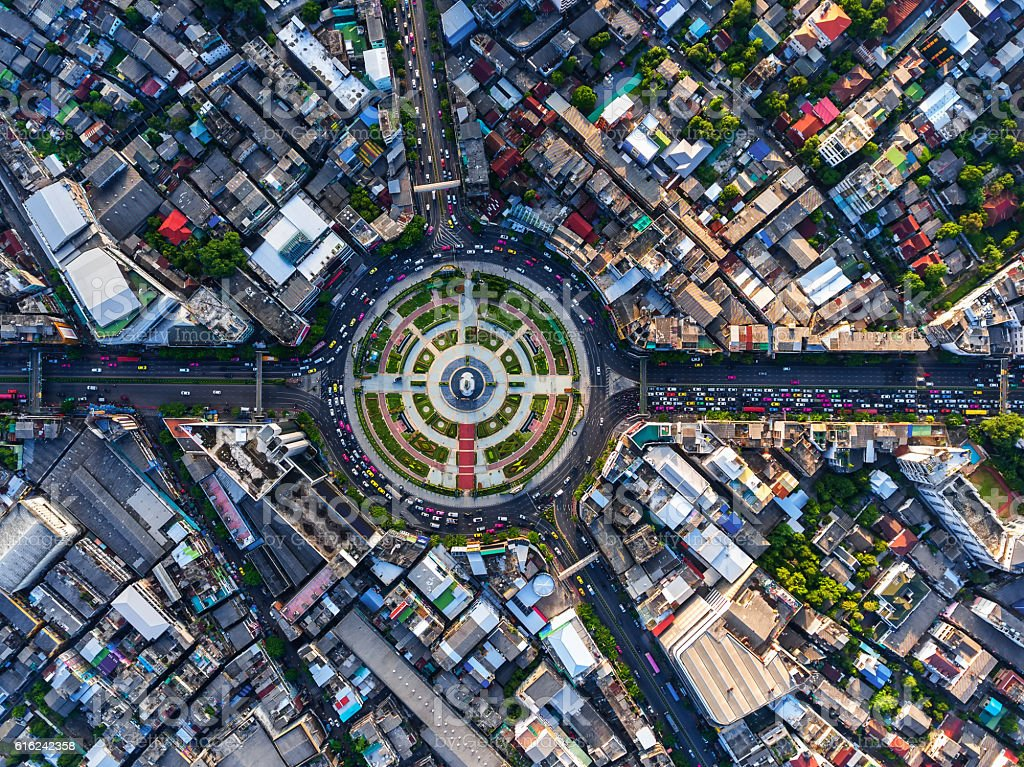 Road roundabout with car lots in Bangkok,Thailand. stock photo