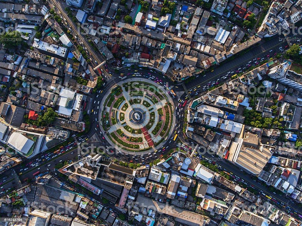 Road roundabout with car lots in Bangkok,Thailand.street roundab stock photo