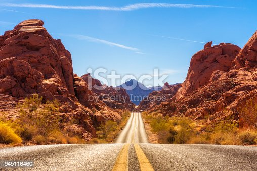 Scenic road running through the Valley of Fire in  Nevada, USA