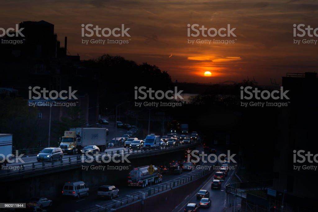 Road Rush Sunset stock photo