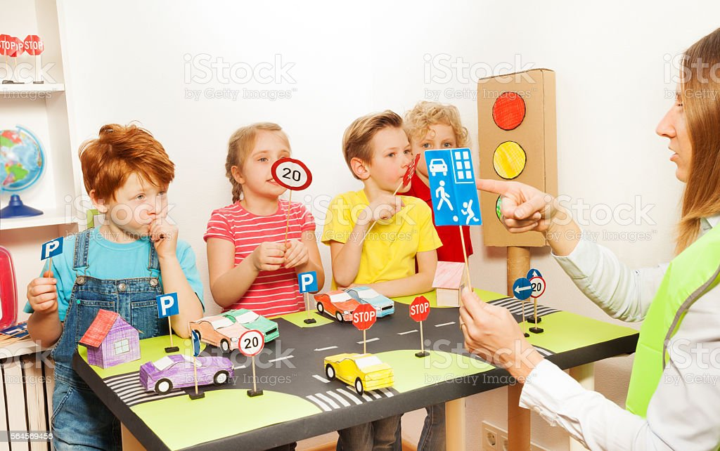 Road safety lesson in the kindergarten stock photo