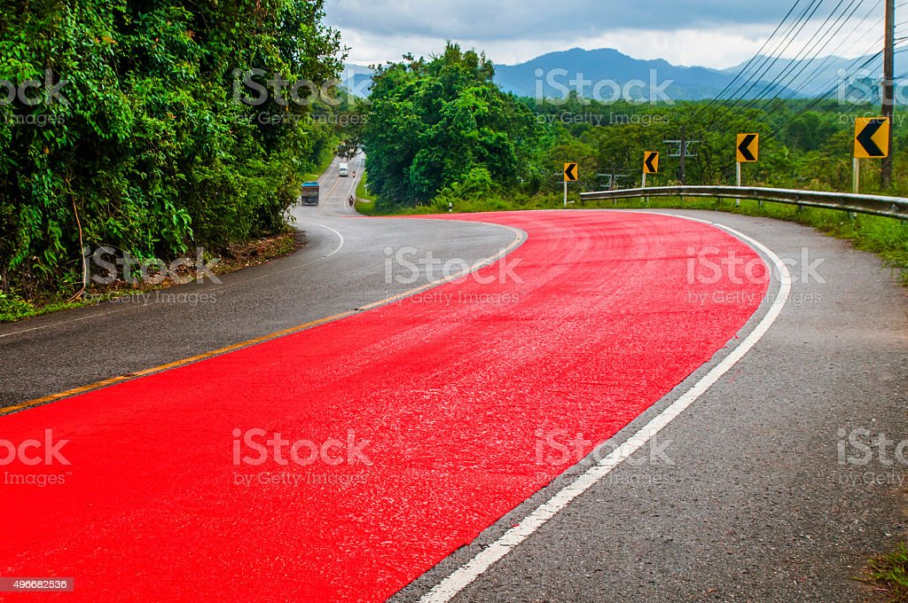 Road safety outside the city, Thailand stock photo