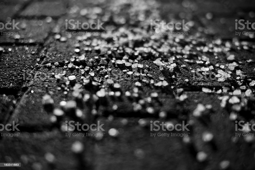 Road Salt in Black & White stock photo