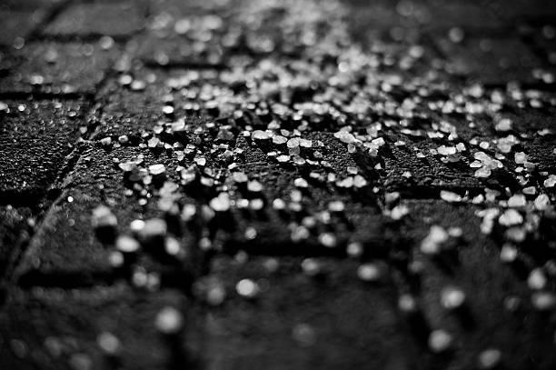Road Salt in Black & White stock photo