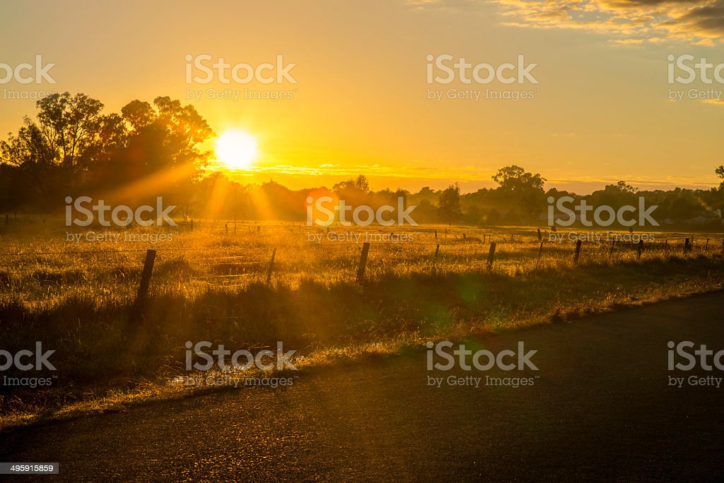 Road side The Horizon at Sunset royalty-free stock photo