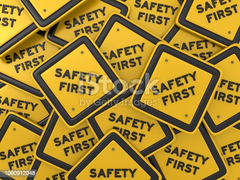 istock SAFETY FIRST Road Sign - 3D Rendering 1060912048