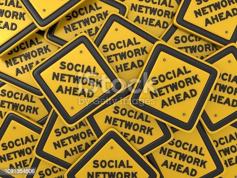 SOCIAL NETWORK AHEAD Road Sign - 3D Rendering