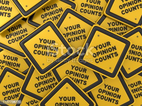 850704072 istock photo YOUR OPINION COUNTS Road Sign - 3D Rendering 1127738720