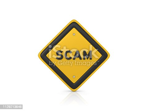 SCAM Road Sign - White Background - 3D Rendering