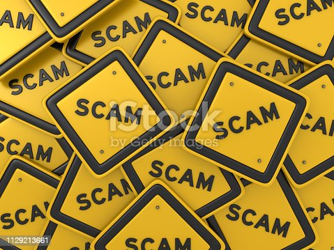 SCAM Road Sign - 3D Rendering