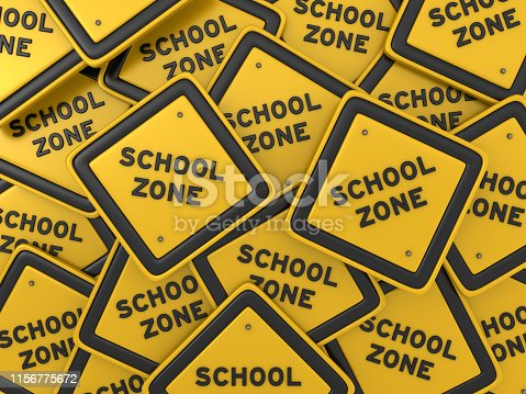 SCHOOL ZONE Road Sign - 3D Rendering